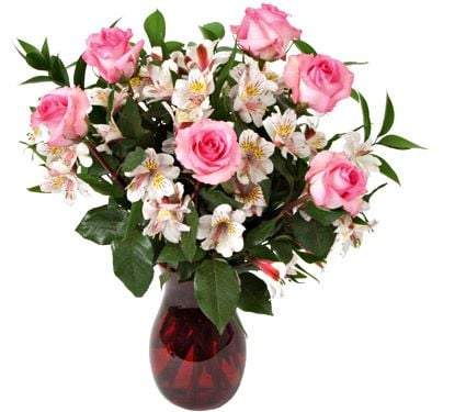 In the Pink Rose Bouquet with Peruvian Lilies