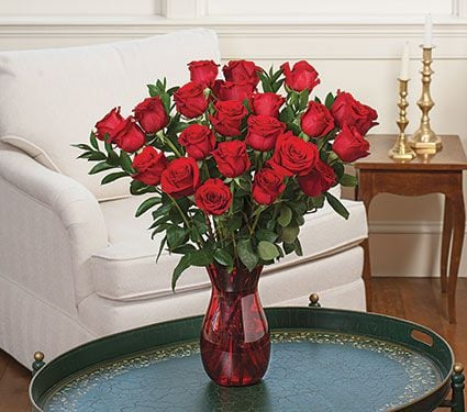 White Flower Farm Classic Red Rose Bouquet (24 Roses)