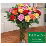Crescendo of Roses Bouquet with Vase Plus $50 Gift Card - Standard Shipping Included
