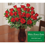 White Flower Farm Classic Red Rose Bouquet (24 Roses) with Vase Plus $50 Gift Card - Standard Shipping Included
