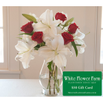 Riviera Bouquet in Vase Plus $50 Gift Card - Priority Shipping Included