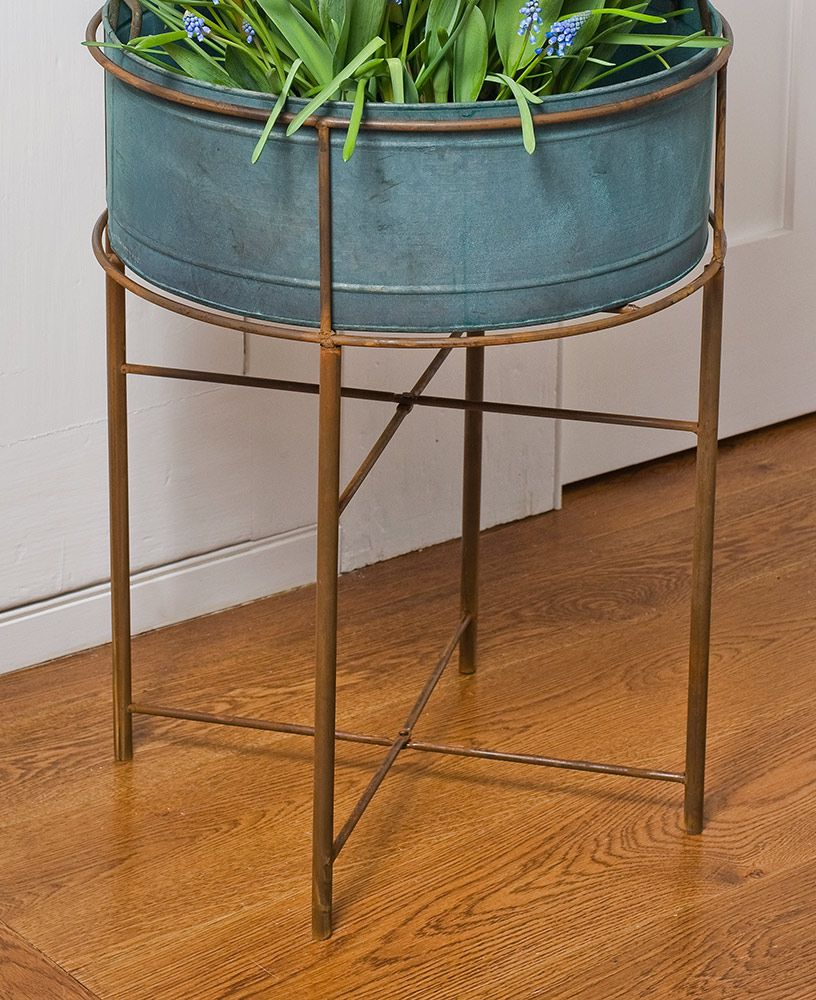 Rustic Faux Copper Plant Stand