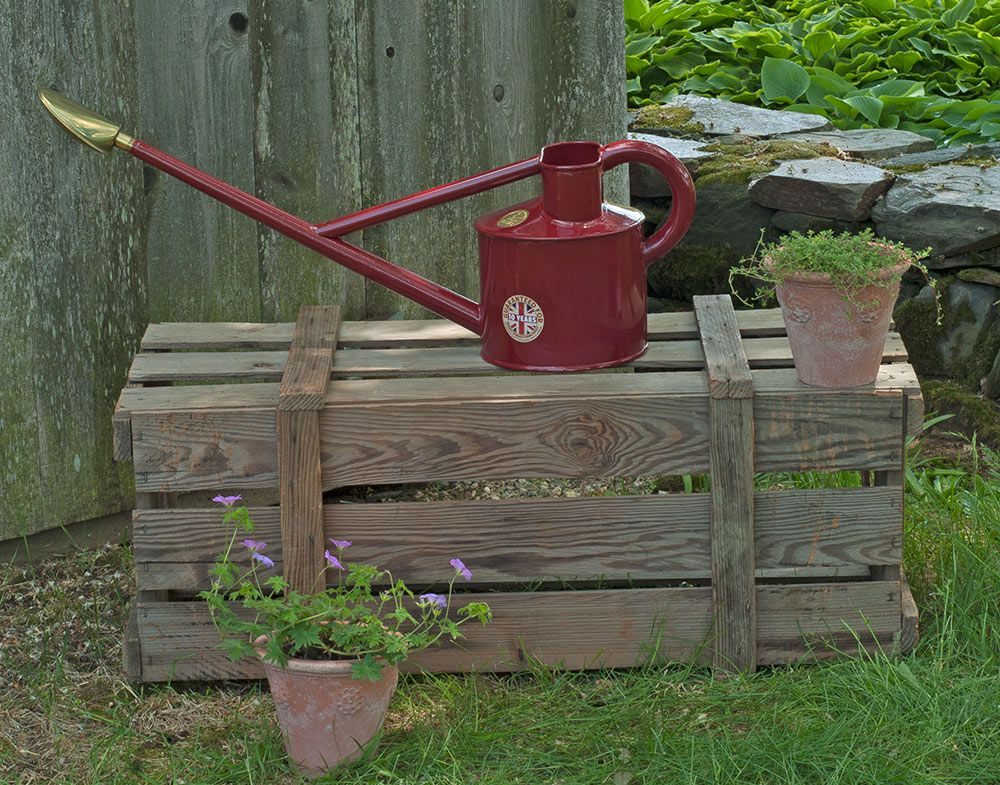 Red long reach watering can white flower farm Long reach watering can
