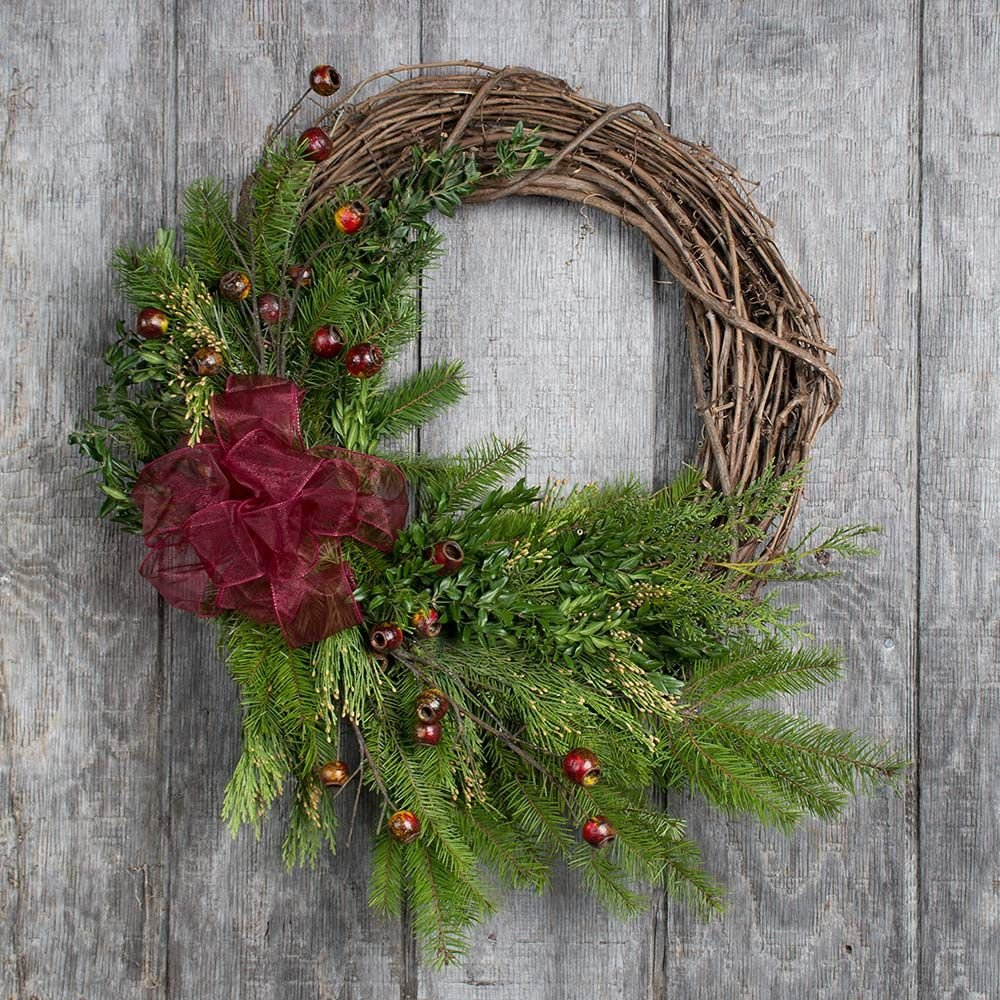Holiday Greens Grapevine Wreath
