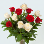 Red & White Rose Bouquet - 12 stems