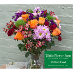 Burst of Happiness Bouquet with Vase with $50 Gift Card - Standard Shipping Included