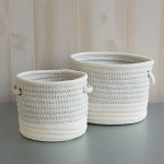 Gray & White Rope Basket