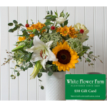 Golden Meadow Bouquet with Vase Plus $50 Gift Card - Standard Shipping Included