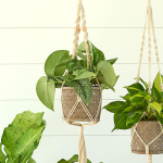 Chloe Beaded Macrame Plant Hanger with Moroccan Mosaic Pot