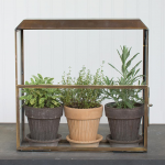 Stylish Brass Greenhouse with Grow Light
