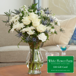 Sea Breeze Bouquet with Vase Plus $50 Gift Card - Standard Shipping Included