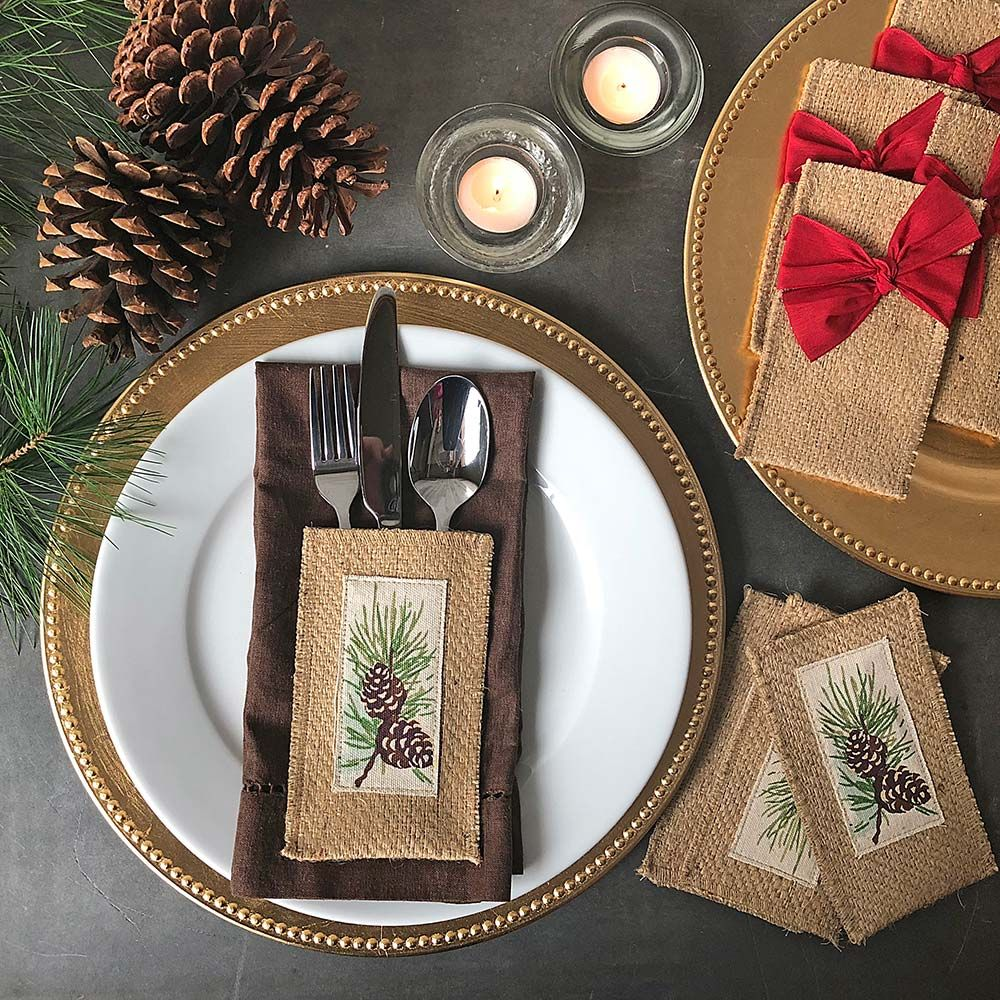 Jute Flatware Pouch Sets