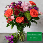 Burst of Happiness Bouquet with Vase Plus $50 Gift Card - Standard Shipping Included