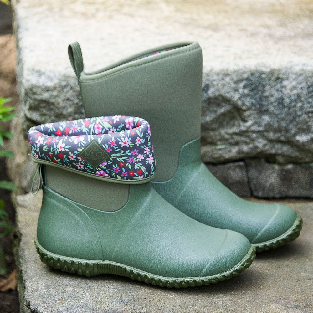 New England Weather Boots, green/floral - Standard Shipping Included