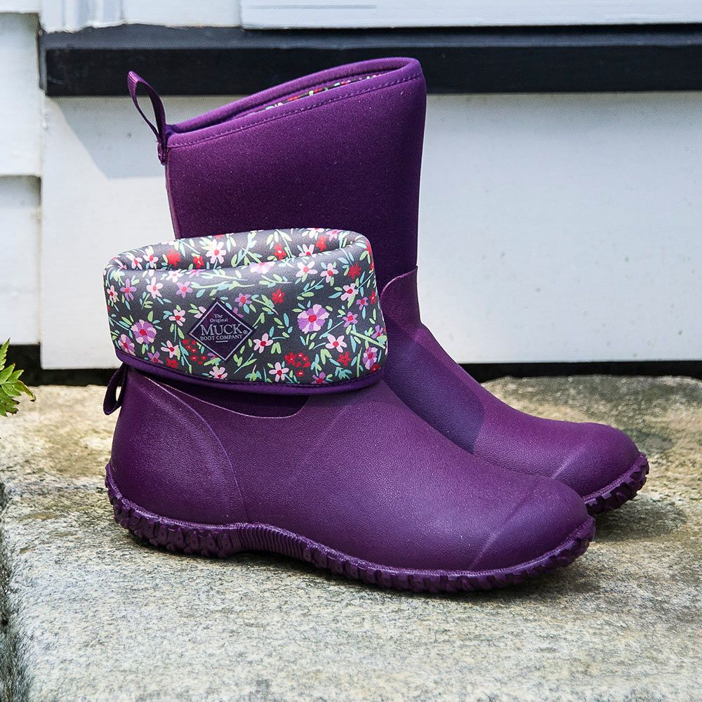 New England Weather Boots, purple/floral - Standard Shipping Included