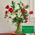Budding Romance Bouquet with Vase Plus $50 Gift Card - Standard Shipping Included