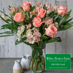 Peach Rhapsody Bouquet with Vase Plus $50 Gift Card - Standard Shipping Included