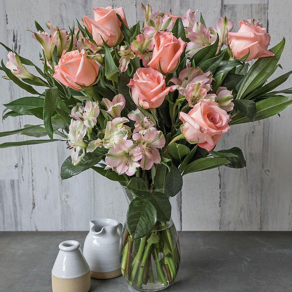 Peach Rhapsody Bouquet with Vase