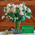Tranquility Bouquet with Vase Plus $50 Gift Card - Standard Shipping Included