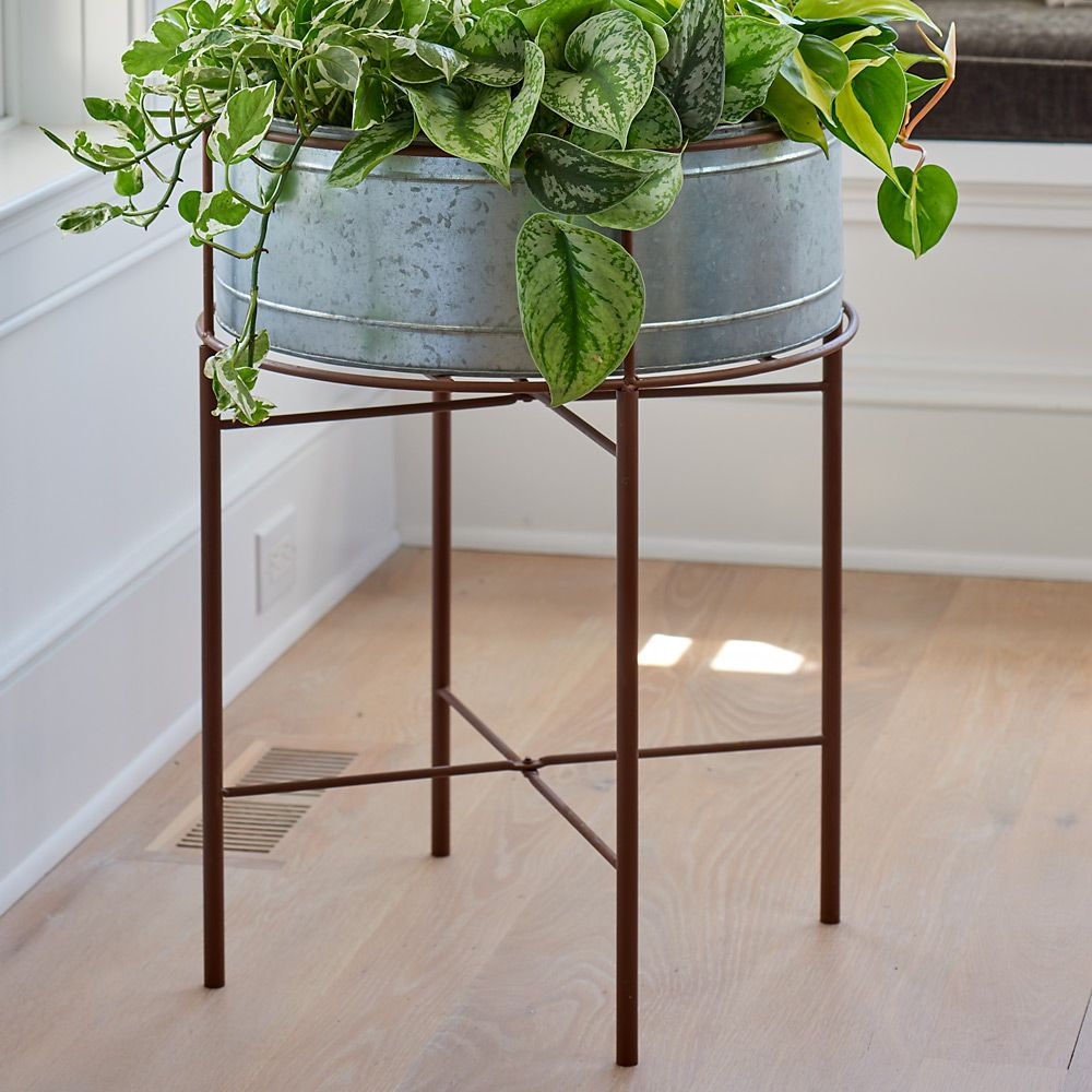 Rustic Galvanized Metal Plant Stand