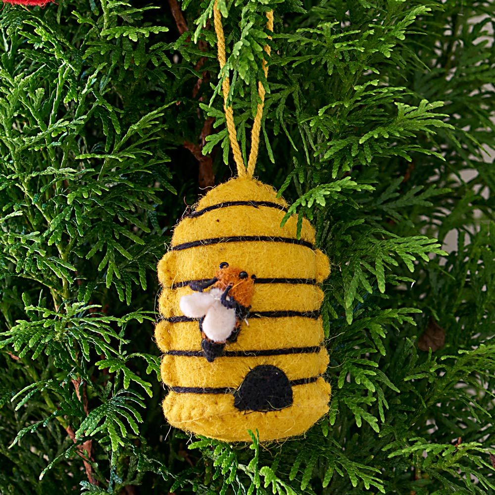 Hand-Felted Wool Bee Ornament