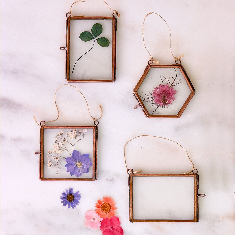 Flower Press Ornaments - set of 4