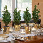 Mini Tabletop Trees in golden glass cachepots, set of 4