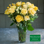 Sunkissed Rose Bouquet with Vase Plus $50 Gift Card - Standard Shipping Included