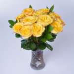 Yellow Bicolor Rose Bouquet - 12 stems