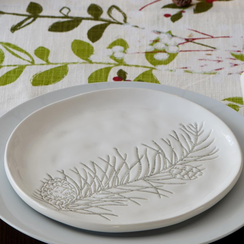 Pine Forest Ceramic Plates, set of 8
