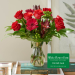 Resplendent Reds Bouquet with Vase Plus $50 Gift Card - Standard Shipping Included