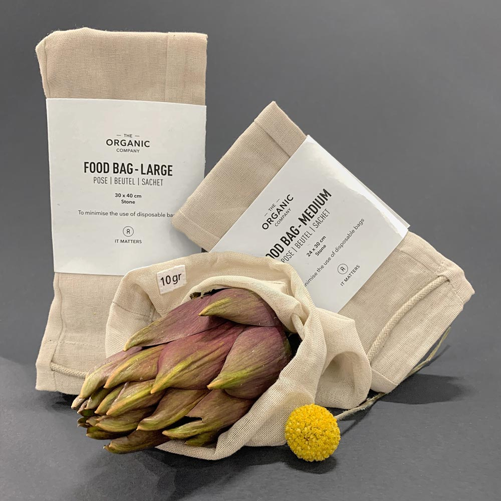 Organic Cotton Food Bags Set of 3