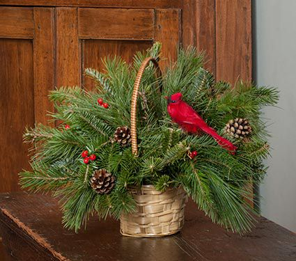Holiday Cardinal Wreath and Basket