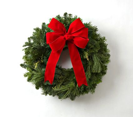 Classic Simplicity Wreath With Red Bow White Flower Farm