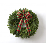 Classic Simplicity Wreath with Plaid Bow