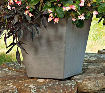 Tapered Square Gray Planter