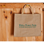 White Flower Farm Jute Shopping Bag